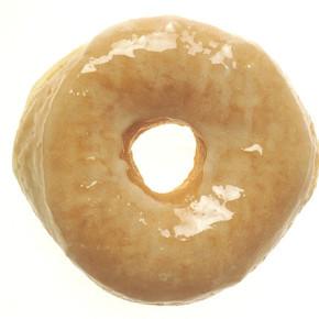 A gaping glazed donut